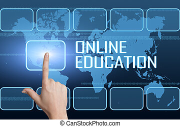 Online Education concept with interface and world map on...