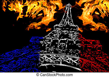 Pray for Paris. Symbol of Paris Eiffel Tower painted in the...