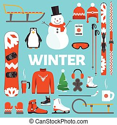 Winter holidays objects - Winter holidays flat objects and...