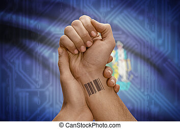 Barcode ID number on wrist of dark skinned person and USA states flags on background - Maine