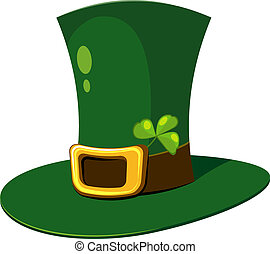 Leprechaun Hat with clover over white EPS 8, AI, JPEG