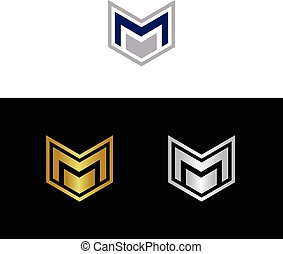 Letter M - Geometric letter M in several color combinations