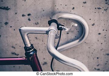 都市, スタイル, 自転車, 型, ハンドル, クローズアップ, 道
