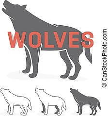 Grey wolf silhouette. Vector logo or label
