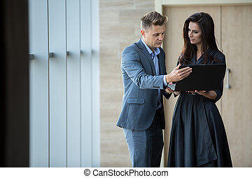 Business portrait of business couple - Business portrait of...