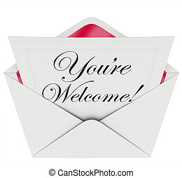 Youre Welcome Words Letter Message Appreciation Recognition...