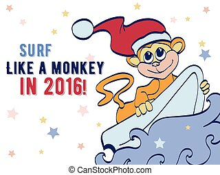 Surfing Holidays New Year Monkey Greeting Card Design Happy...