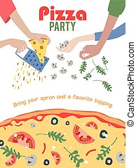 Pizza Party Invitation Poster Flyer. Dinner. Social Event....