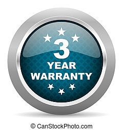 warranty guarantee 3 year blue silver chrome border icon on...