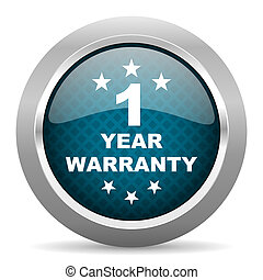 warranty guarantee 1 year blue silver chrome border icon on...