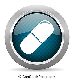 drugs blue silver chrome border icon on white background