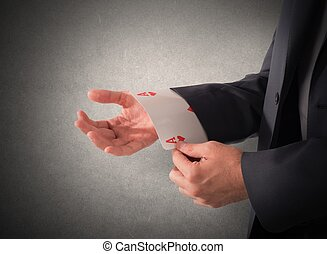 Trump card - Businessman out of sleeve a poker card
