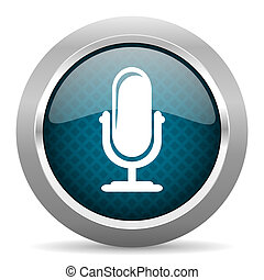 microphone blue silver chrome border icon on white...
