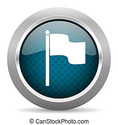 flag blue silver chrome border icon on white background