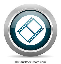 film blue silver chrome border icon on white background
