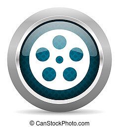 film blue silver chrome border icon on white background