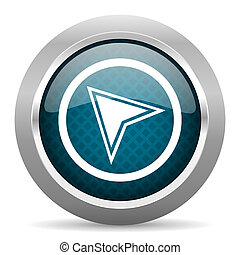 navigation blue silver chrome border icon on white background