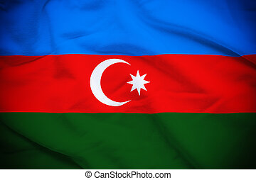 Azerbaijan Flag - Wavy and rippled national flag of...