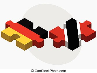 Germany and Trinidad and Tobago Flags in puzzle isolated on...