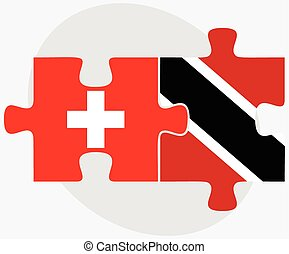 Switzerland and Trinidad and Tobago Flags in puzzle isolated...