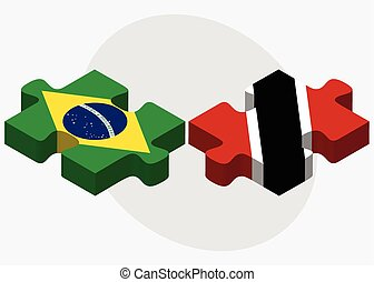 Brazil and Trinidad and Tobago Flags in puzzle isolated on...