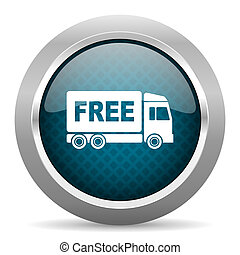 free delivery blue silver chrome border icon on white...