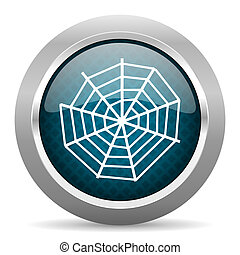 spider web blue silver chrome border icon on white background