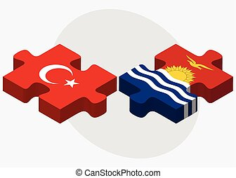 Turkey and Kiribati Flags in puzzle isolated on white...