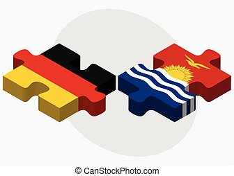 Germany and Kiribati Flags in puzzle isolated on white...