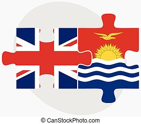 United Kingdom and Kiribati Flags in puzzle isolated on...