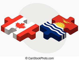 Canada and Kiribati Flags in puzzle isolated on white...