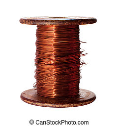 Copper wire - A roll of copper wire; isolated on the white...