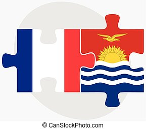 France and Kiribati Flags in puzzle isolated on white...
