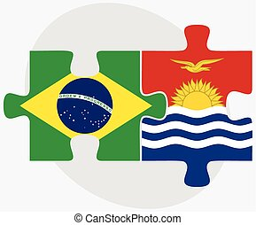 Brazil and Kiribati Flags in puzzle isolated on white...
