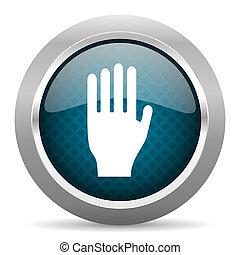 stop blue silver chrome border icon on white background