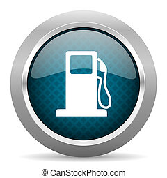 petrol blue silver chrome border icon on white background
