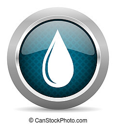 water drop blue silver chrome border icon on white background