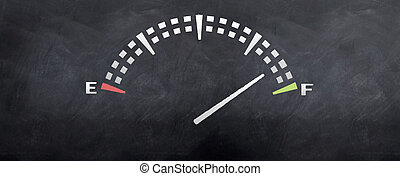 Gas Tank Reading - Gas tank levels sketched on a blackboard