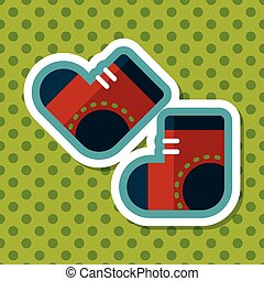 socks flat icon with long shadow,EPS 10