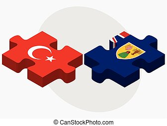 Turkey and Turks and Caicos Islands Flags in puzzle isolated...