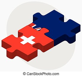 Switzerland and Turks and Caicos Islands Flags in puzzle...