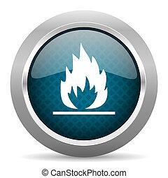 flame blue silver chrome border icon on white background