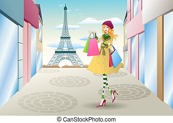 shopping in france - illustration of a woman shopping in...