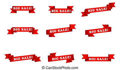 big sale banner ribbons - illustration graphic depicting a...