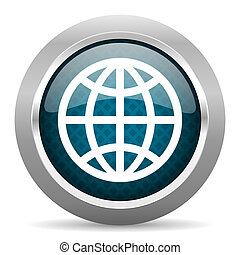 earth blue silver chrome border icon on white background