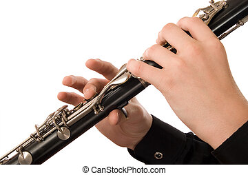 Clarinet player It is isolated on a white background