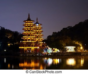 Evening View of the Dragon and Tiger Pagodas in Taiwan