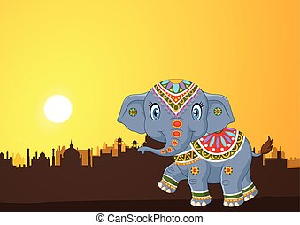Cute elephant mascot wearing costum