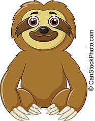 Cartoon funny sloth animal sitting - Vector illustration of...