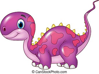 Cute baby dinosaur posing. Isolated - Vector illustration of...